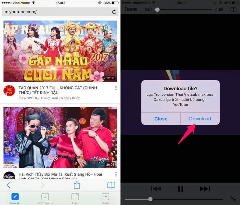 download video bằng iphone