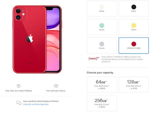 mức giá iPhone 11 Apple